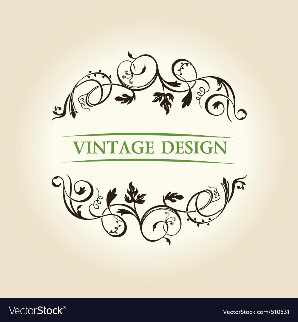 Vintage decor label ornament design emblem vector