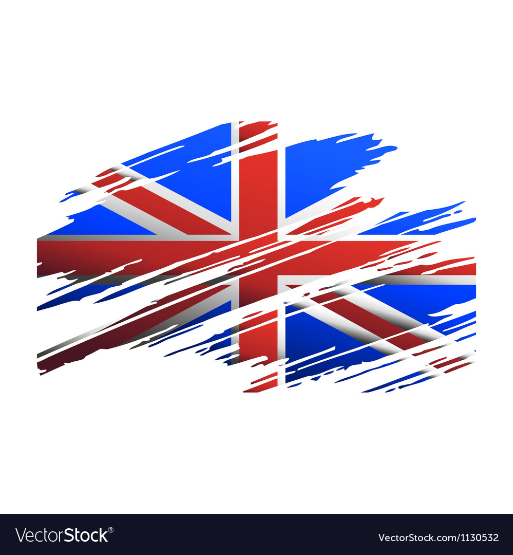 Flag great britain in the form traces brush vector