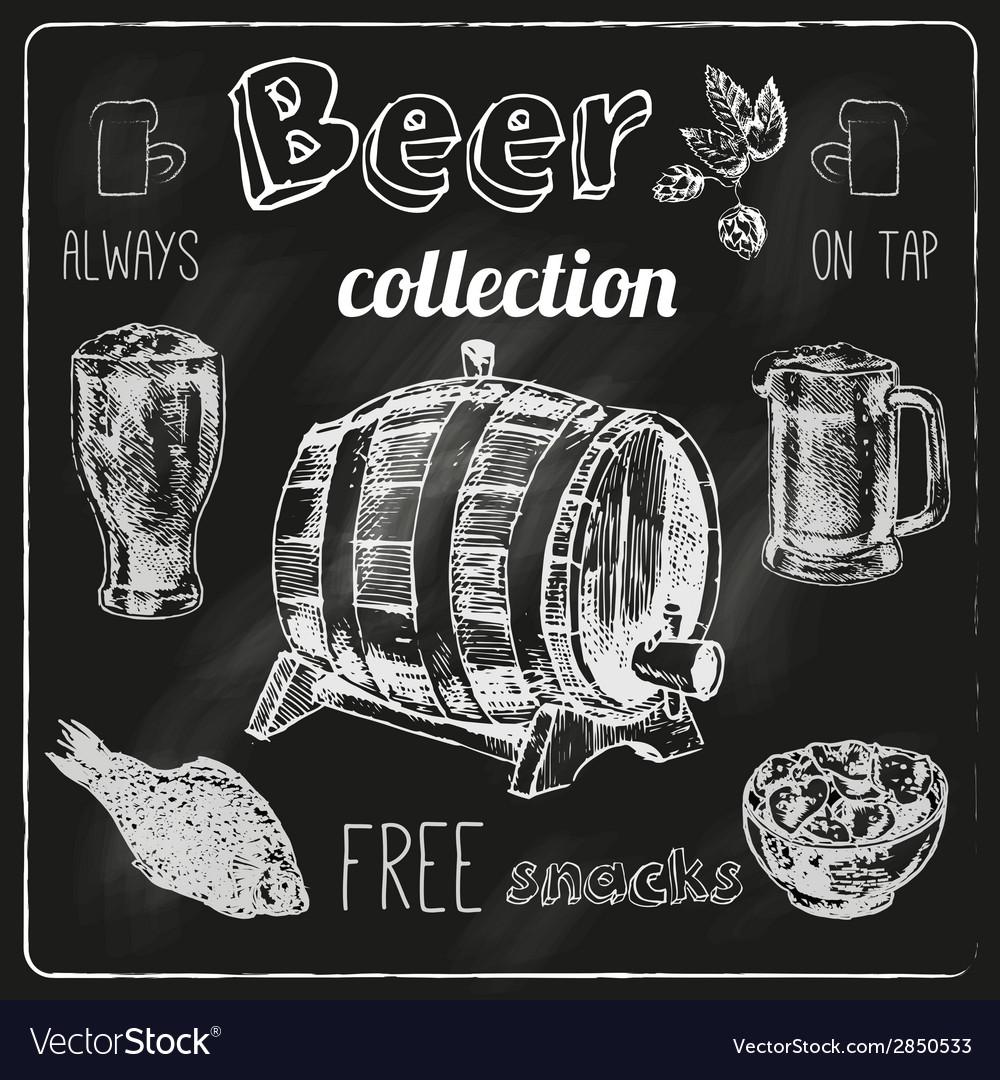 Beer icons blackboard set vector
