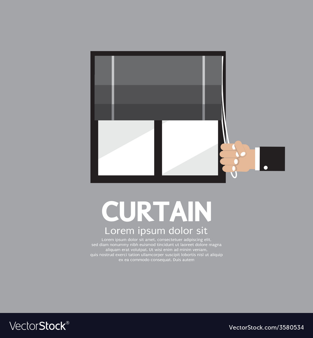 Roman curtain on window vector