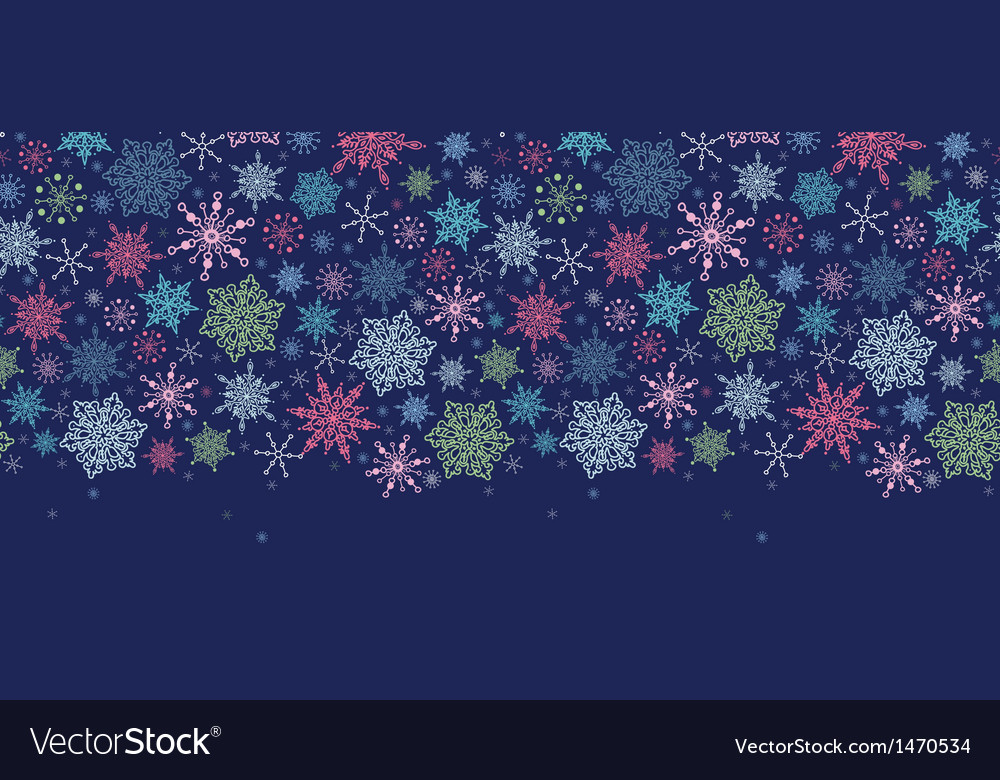 Snowflakes on night sky horizontal seamless vector