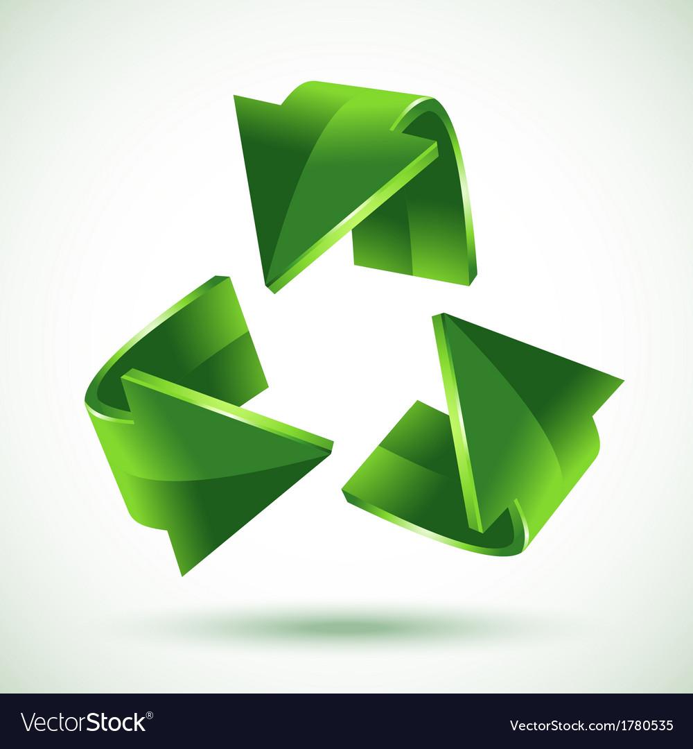 Green recycling arrows vector