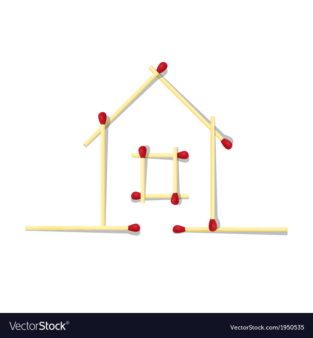 House symbol made from matches vector
