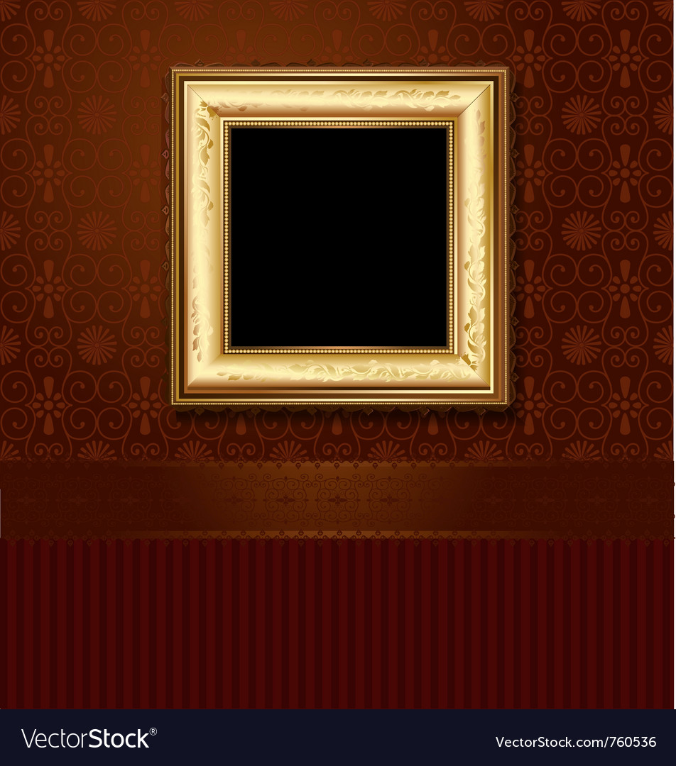 Golden picture frame vector