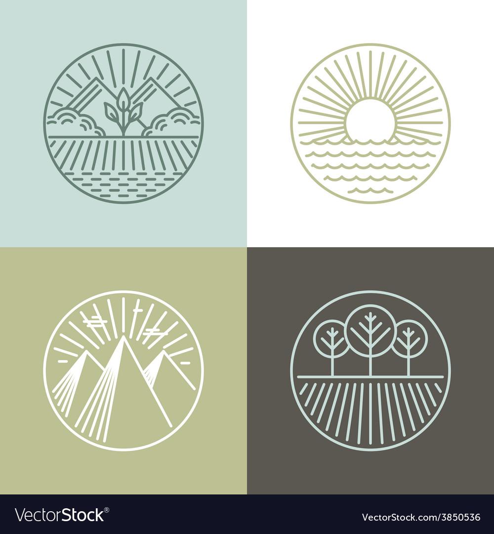 Line badges with landscapes vector