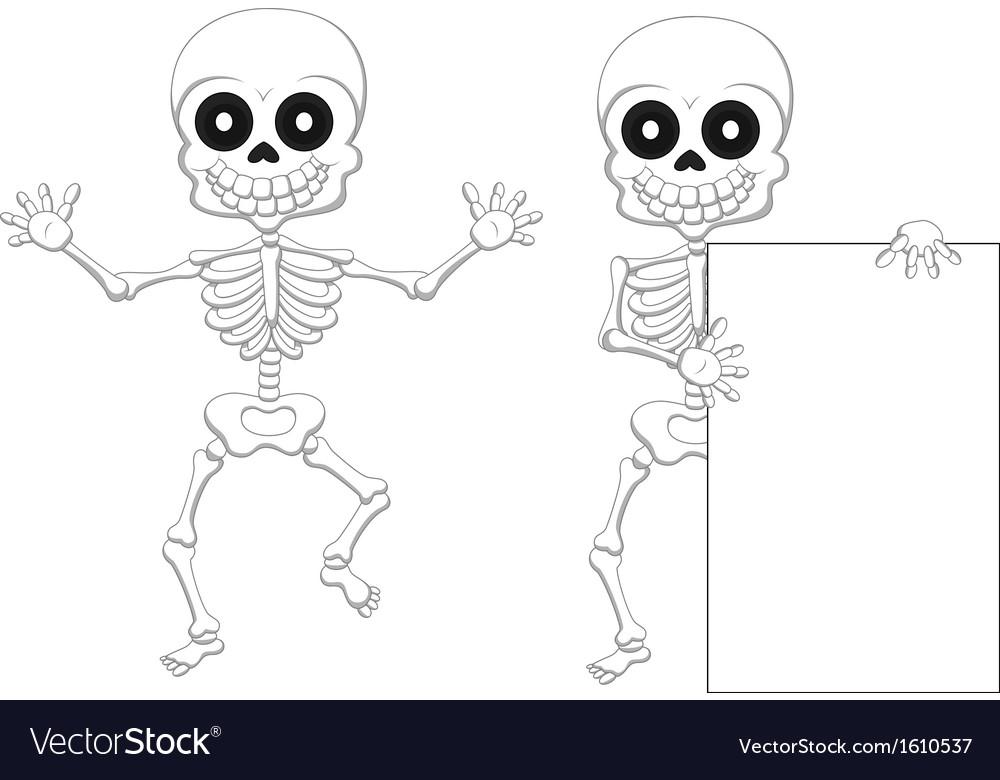 Funny skeleton cartoon vector