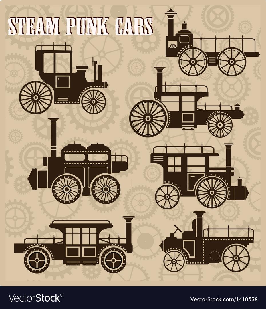 Steam-punk cars vector