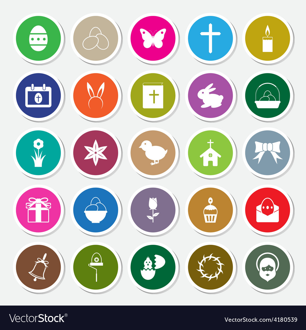 Easter icons set circle sticker vector