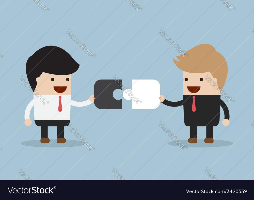 Two businessman connect puzzle pieces vector
