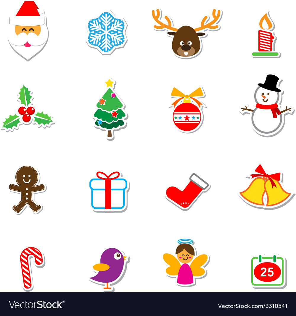 039 christmas sticker set 001 vector
