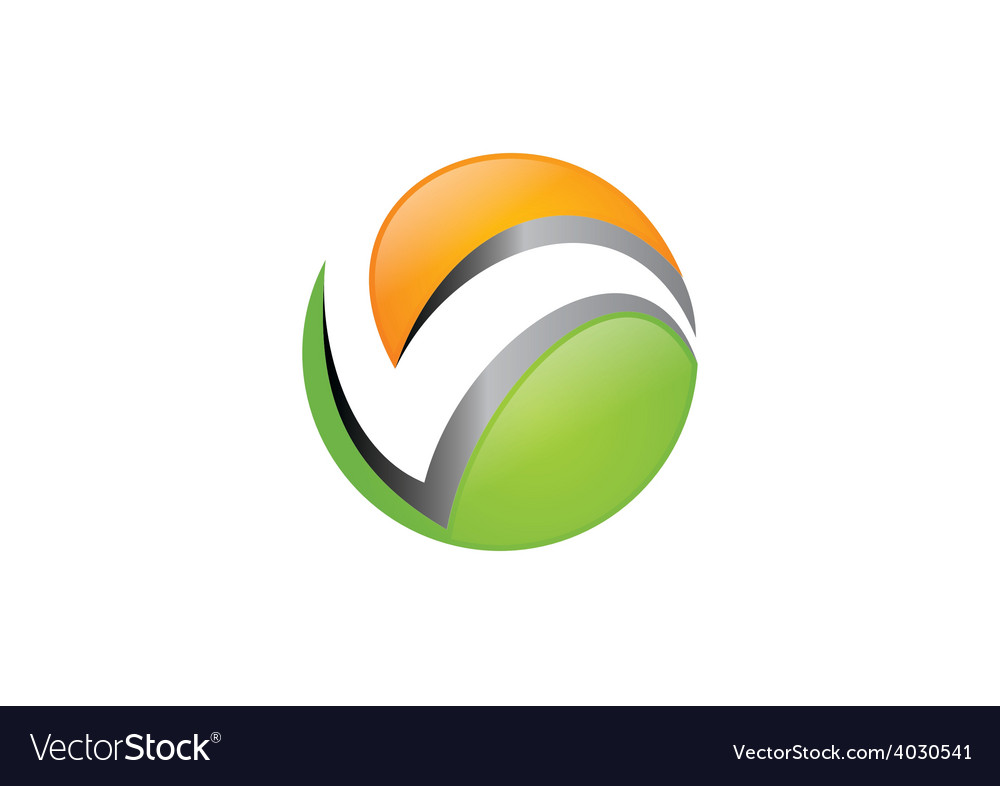 Abstract round letter v business logo vector