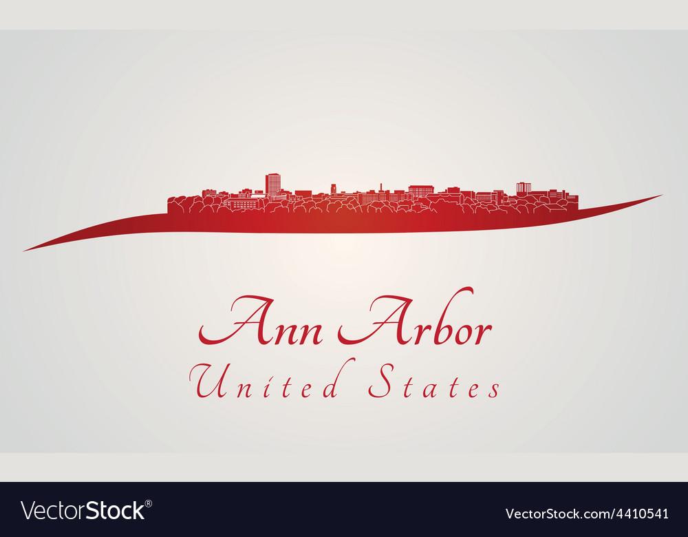 Ann arbor skyline in red vector