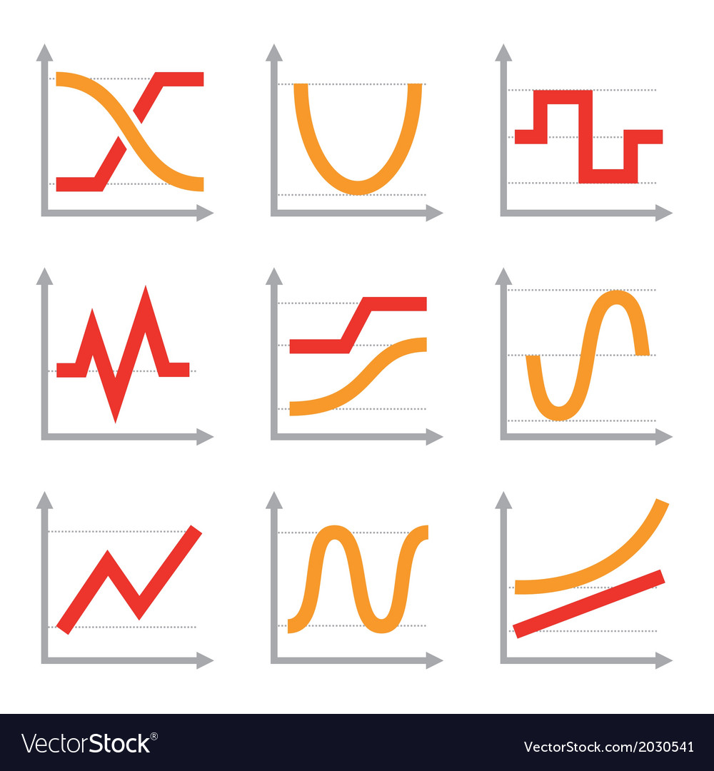 Digital and analog colorful charts and diagrams vector