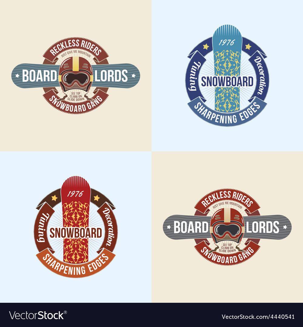 Vintage snowboard emblems vector
