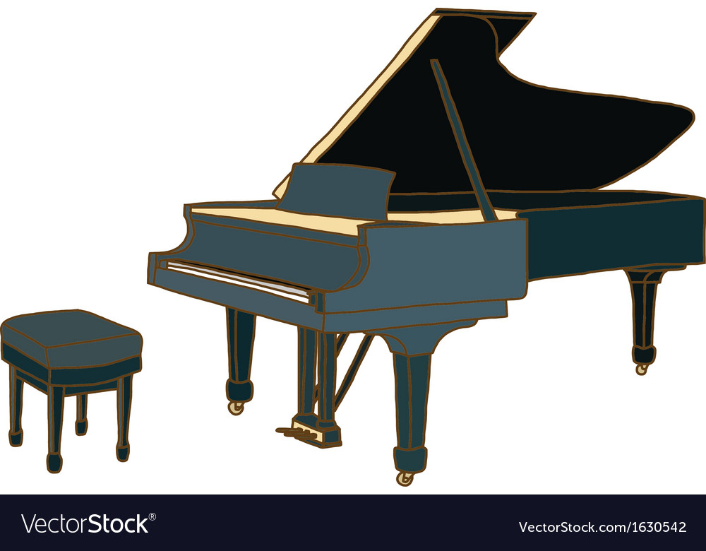 Piano with chair vector