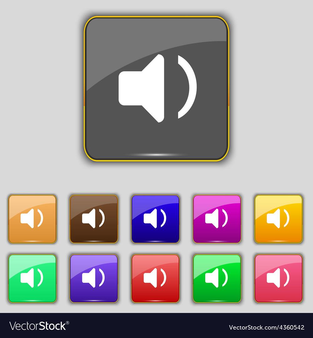 Speaker volume sound icon sign set with eleven vector