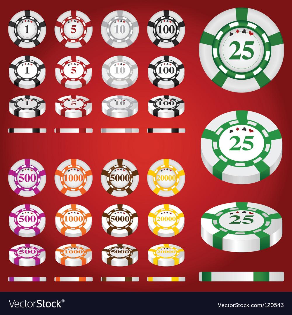 Gambling chips set vector