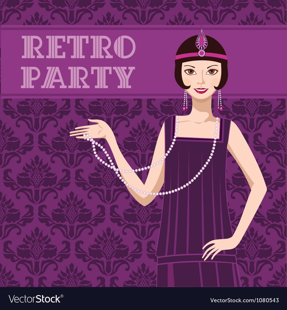 Retro party invitation vector
