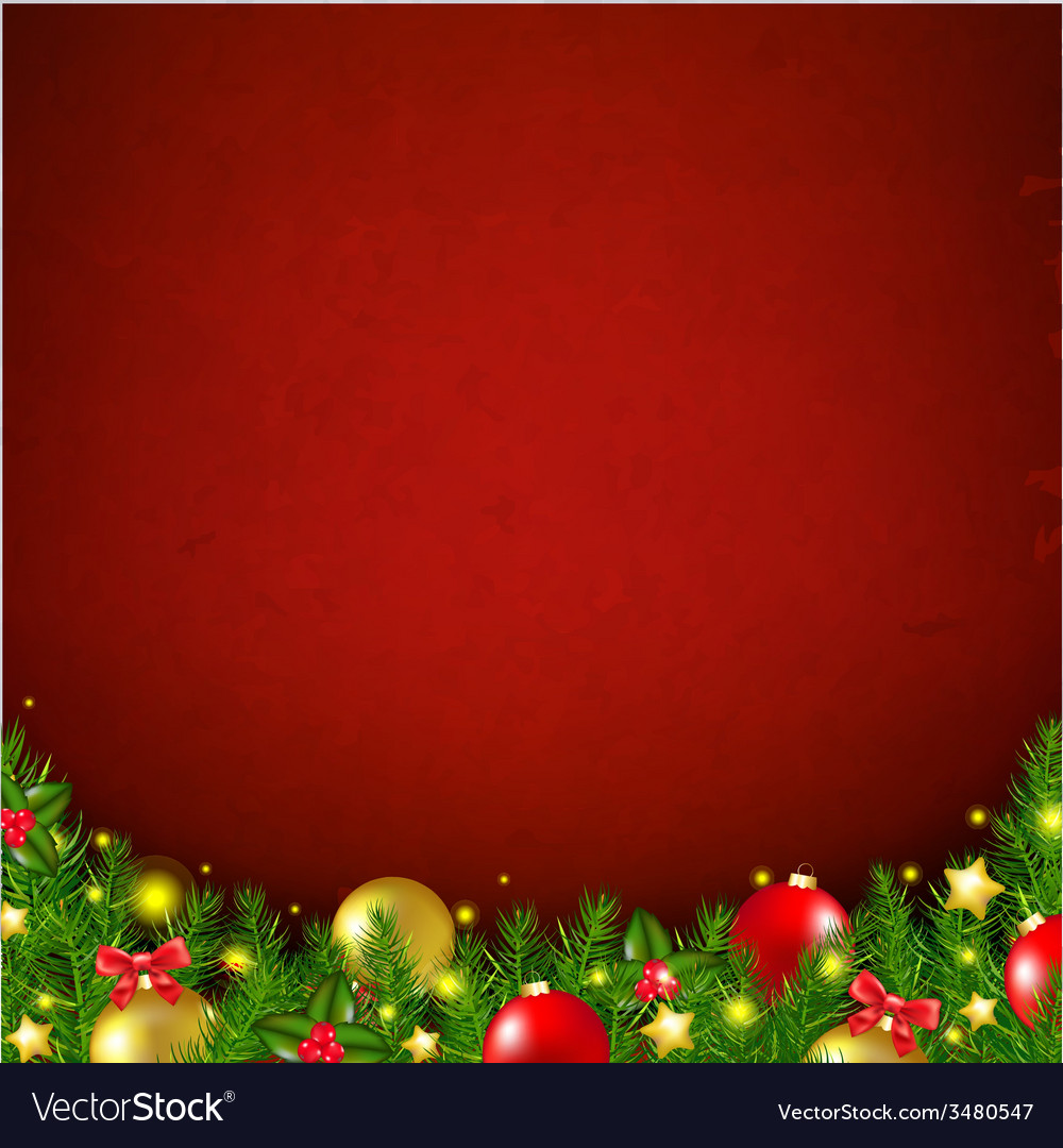 Red christmas poster with bokeh vector