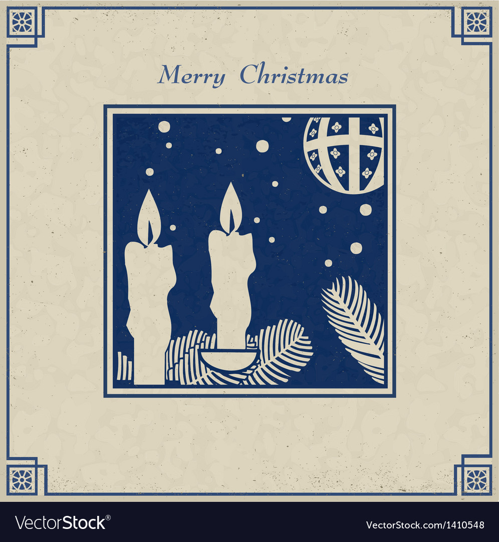 Antique christmas card vector
