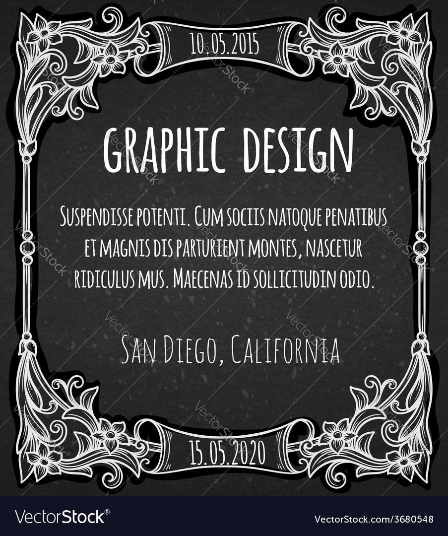 Black chalk board template vintage frame vector