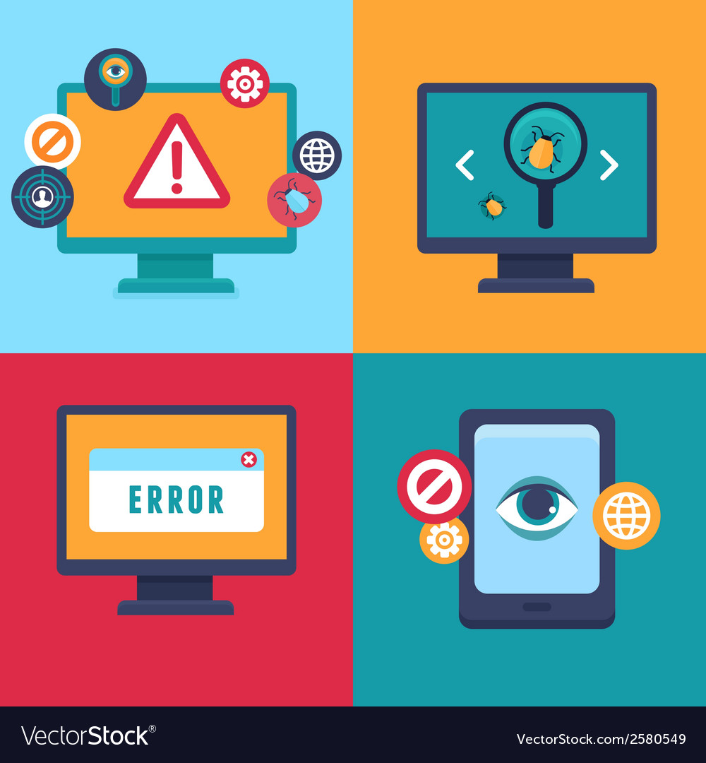 Flat icons - internet security and virus vector