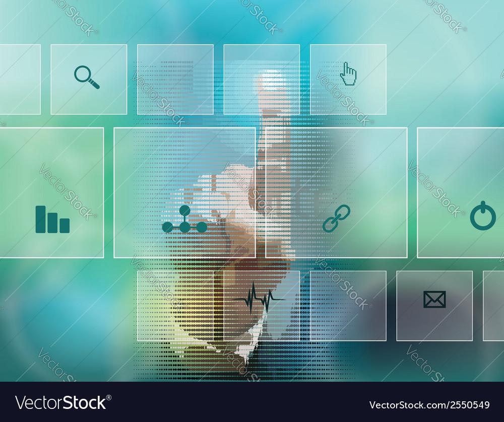 Hand pressing high tech type of modern buttons vector