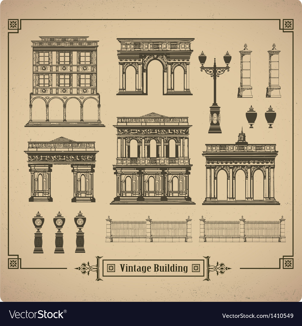 Retro buildings vector