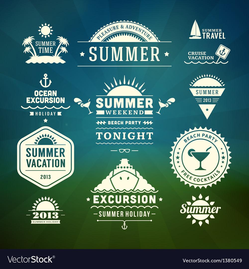 Retro summer design elements vector