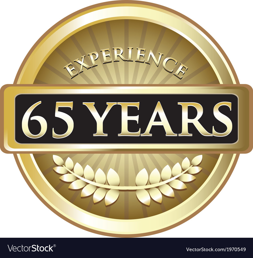 Sixty five years experience gold vector
