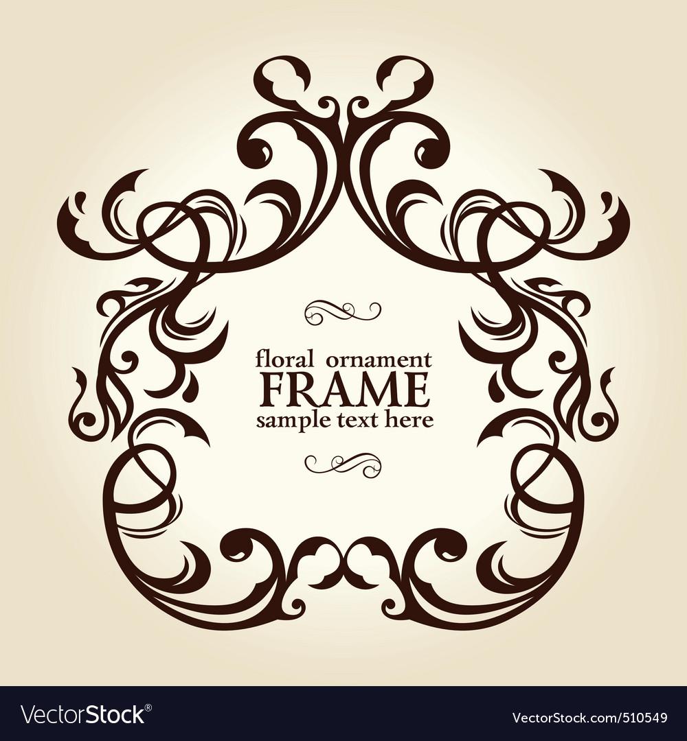 Vintage retro floral frame ornament vector