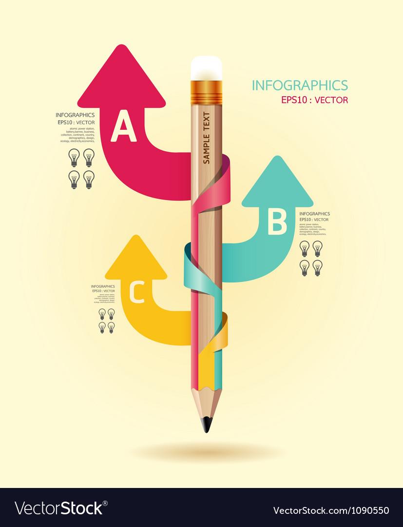 Creative template with pencil ribbon arrow banner vector