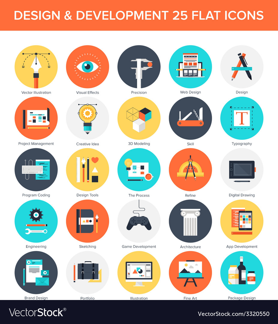 Design and development icons vector