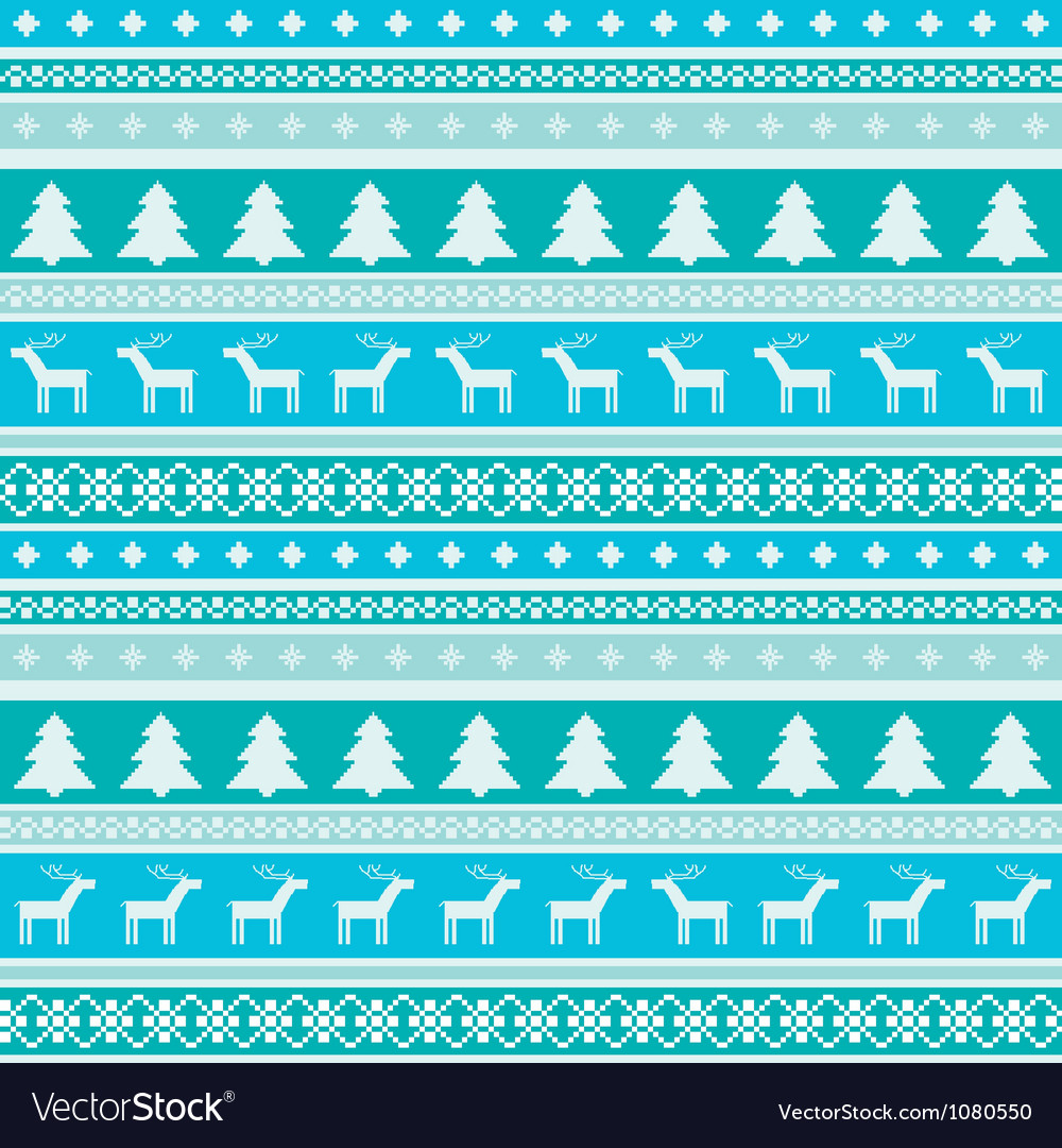 Winter pattern with christmas trees and deers vector
