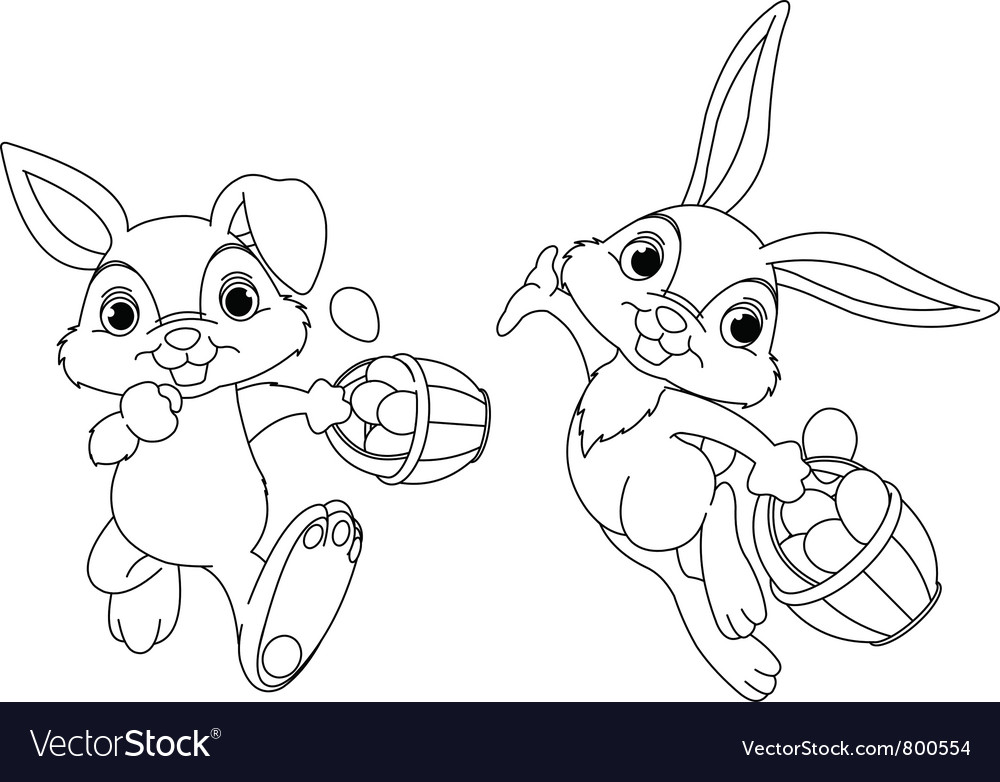 Easter bunny hiding eggs vector