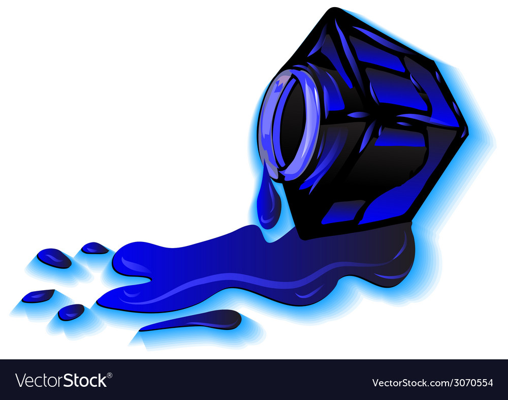 Ink stain and inkwell vector