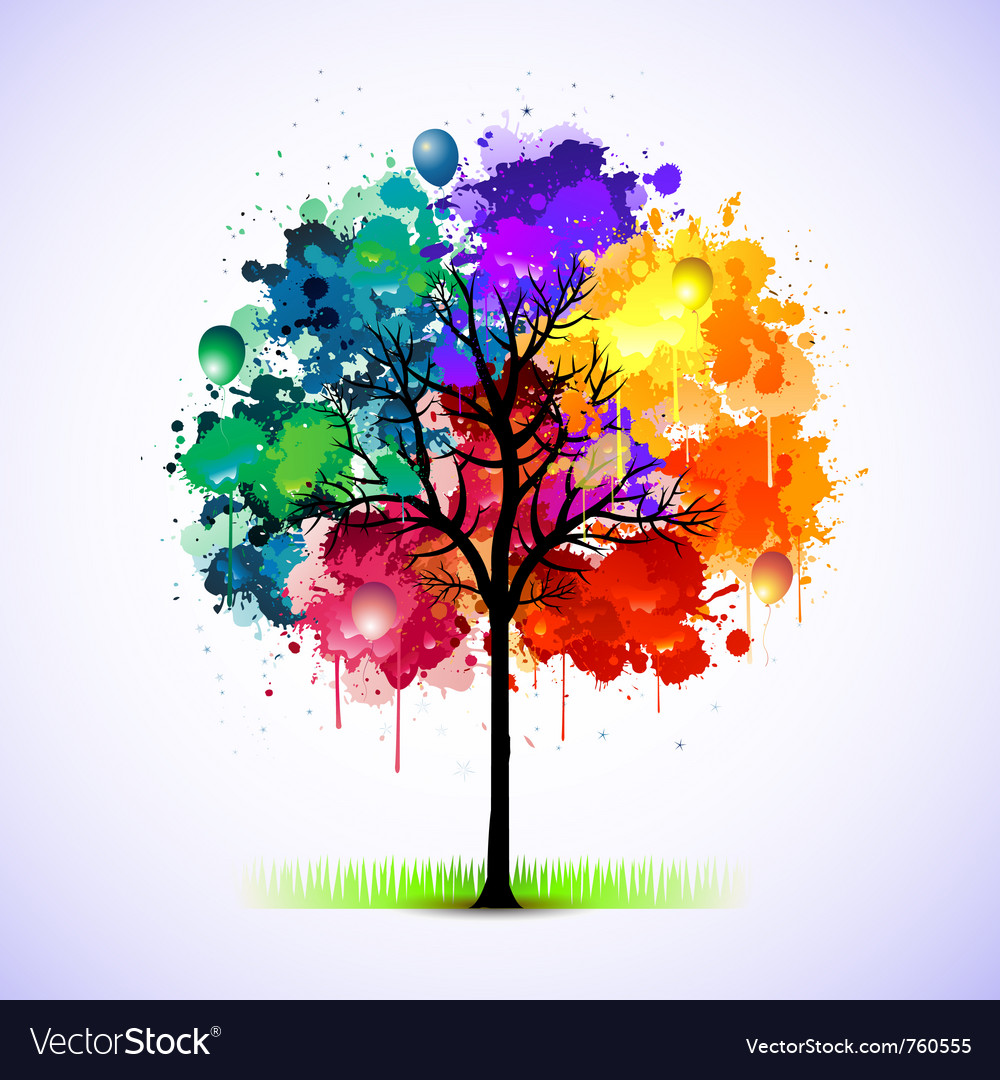 Colorful tree background vector