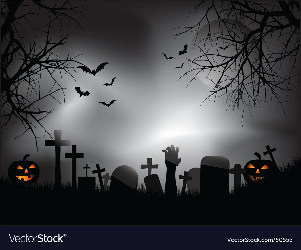 Zombie hand in graveyard vector