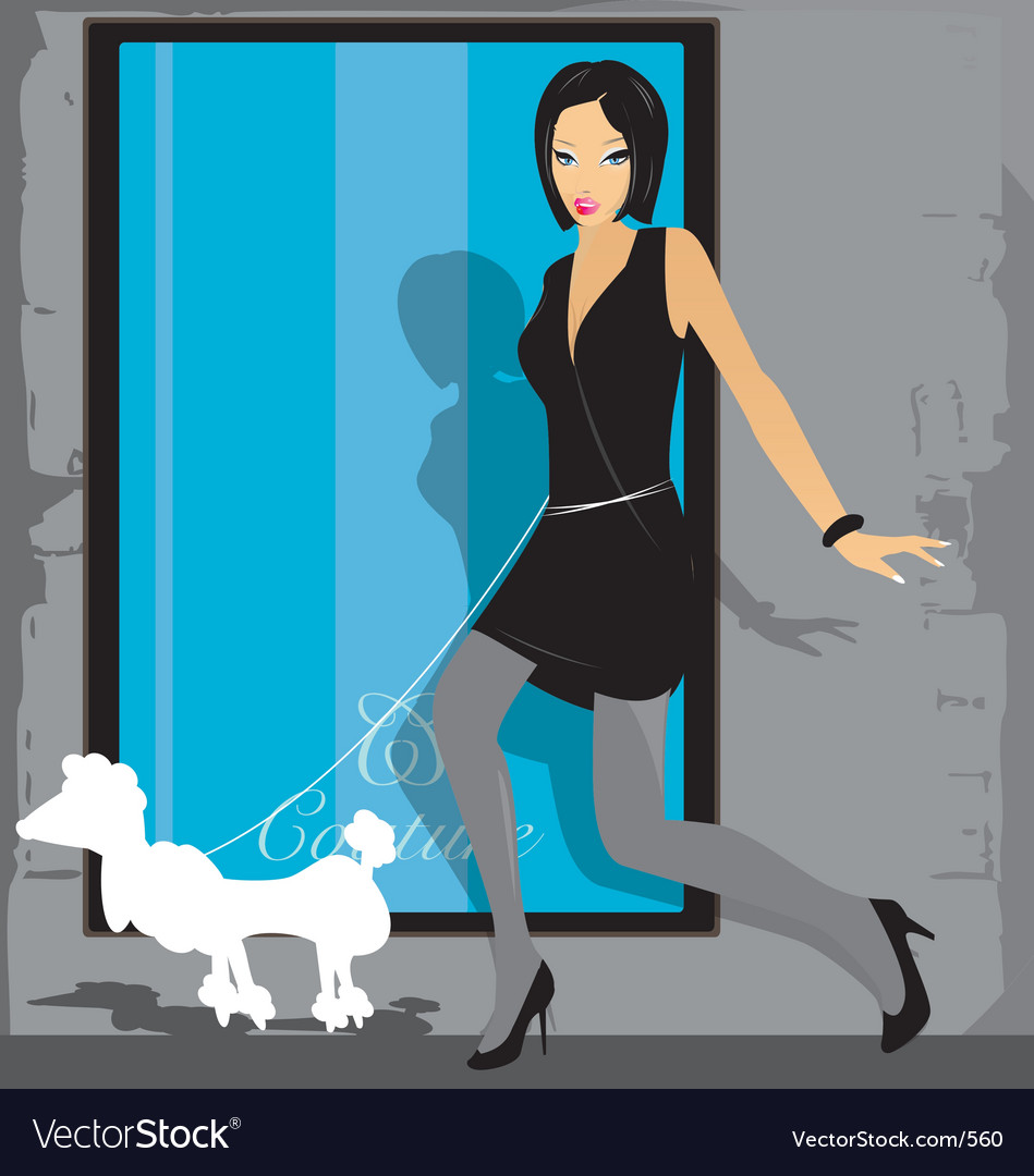 Girl and poodle vector
