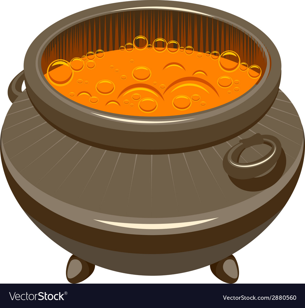 Potion brewed and boiling in the cauldron vector