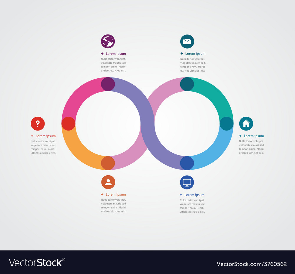 Minimalist design of a template with six options vector