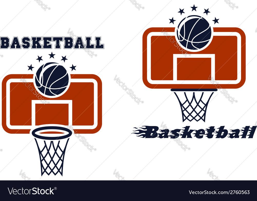 Backboard and basketball symbols vector