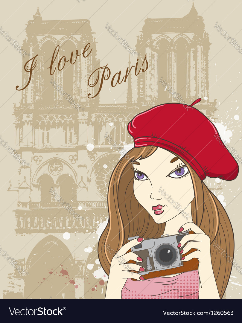 Paris girl vector
