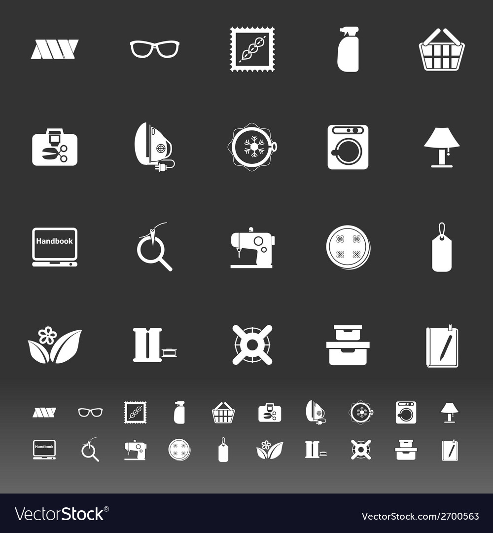 Sewing cloth related icons on gray background vector