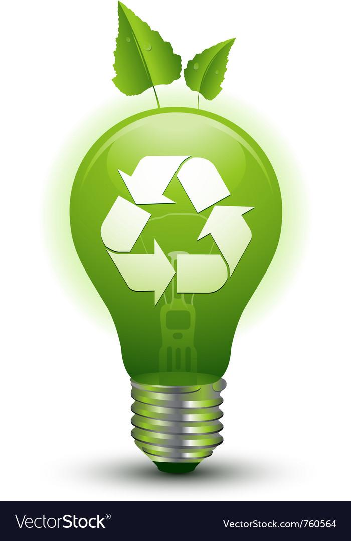 Ecological idea green lightbulb vector