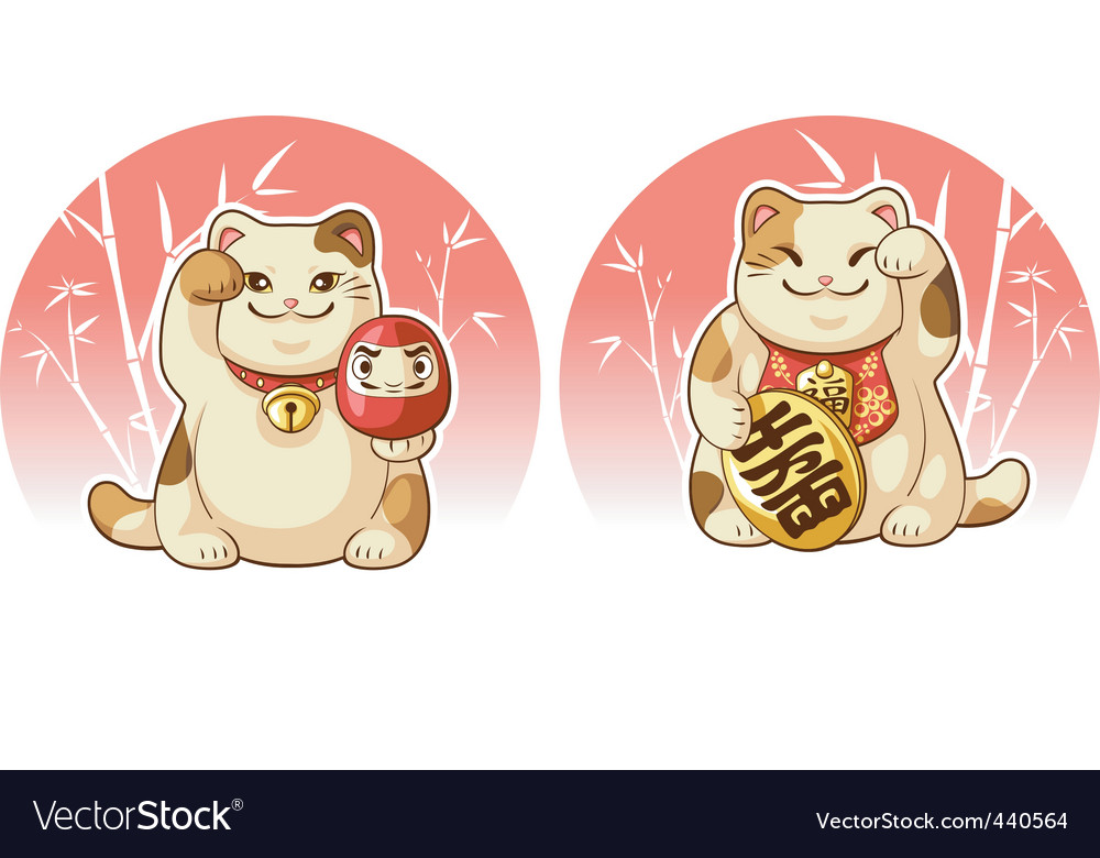 Japanese fortune lucky cat man vector