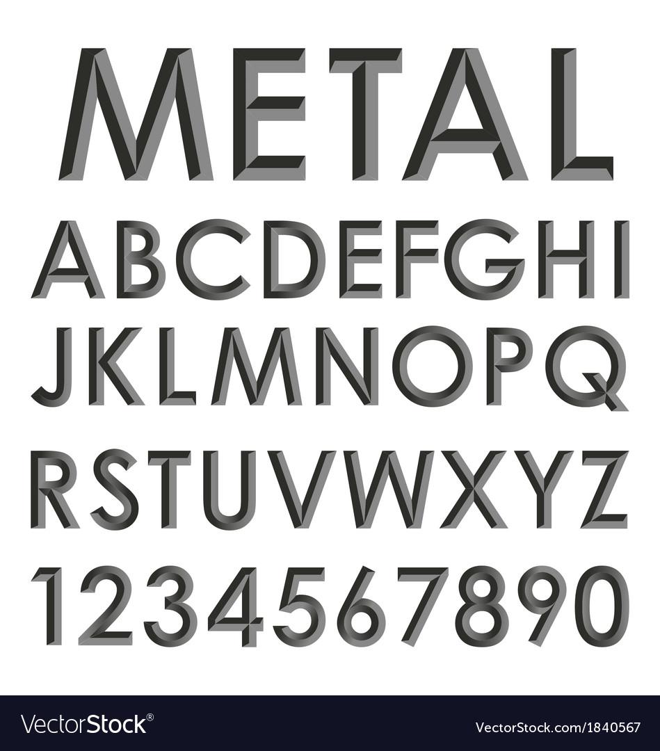 Metallic alphabet set vector