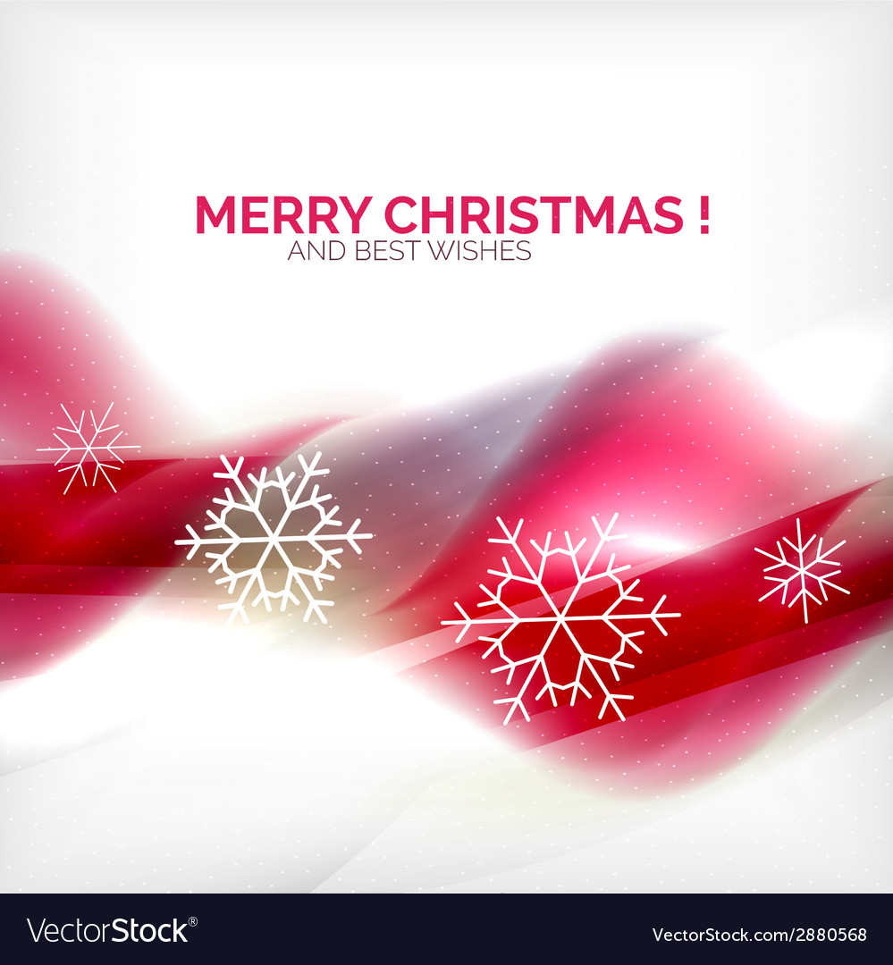Pink christmas blurred waves and snowflakes vector