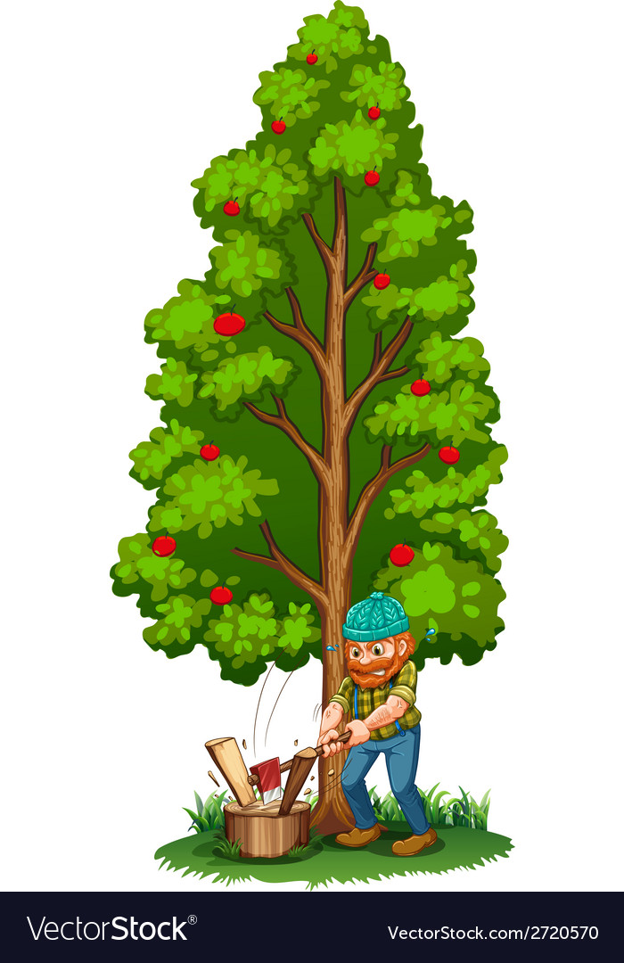 A man chopping near the fruit bearing tree vector