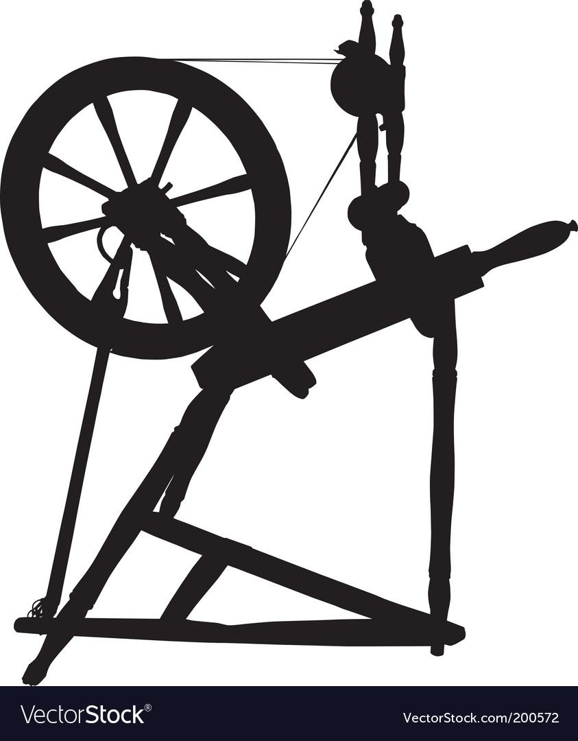 Antique spinning wheel vector